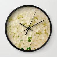 Vintage Nature Botanical White Hydrangea Flower Head Wall Clock