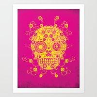 sugar skull Art Prints featuring Sugar Skull by Farnell