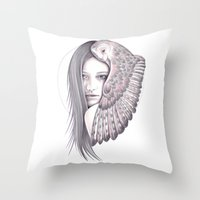 Alone With The Owl Throw Pillow