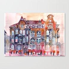 Apartment House in Poznan and orange umbrellas Canvas Print