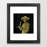 Green Alien Framed Art Print