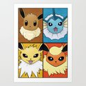 Original Pokemon Eeveelutions Poster  Art Print