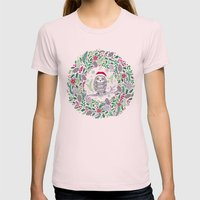 Owl Wreath Womens Fitted Tee Light Pink SMALL