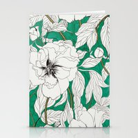 Green Peonies Stationery Cards