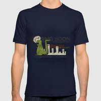 Dinosaur in the City Mens Fitted Tee Navy SMALL