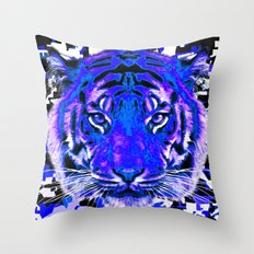 camouflage tiger on blue Throw Pillow
