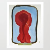 Red Elephant Thinking Of… Art Print