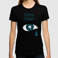 Deep Vibes Womens Fitted Tee Black SMALL