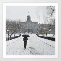 Walking Under Snow Art Print