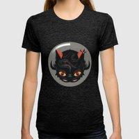 Devil Cat Womens Fitted Tee Tri-Black SMALL