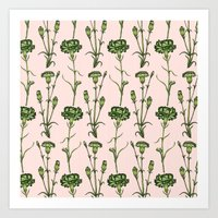 Green Carnations  Art Print