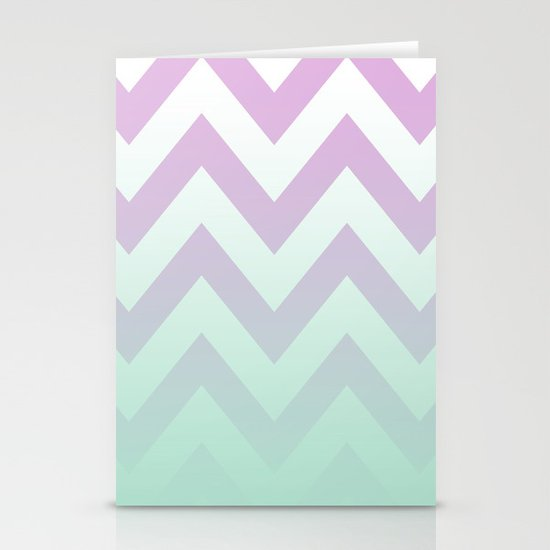 PINK CHEVRON MINT FADE Stationery Card