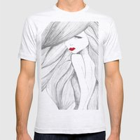 Red lips Mens Fitted Tee Ash Grey SMALL