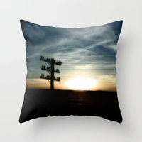 Sunset on the Road Throw Pillow