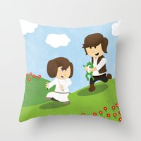 SW Kids - Han Chasing Leia Throw Pillow