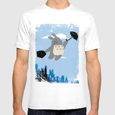 Totoro Poppins Mens Fitted Tee White SMALL