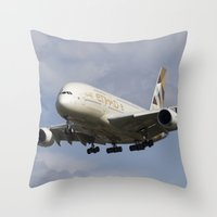 Etihad Airlines Airbus A380 Throw Pillow