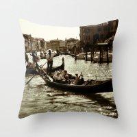 Gondolas on the Grand Canal Throw Pillow