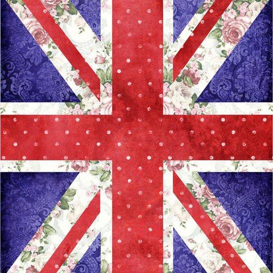Vintage Red Polka Dots Floral UK Union Jack Flag and Blue Damask Canvas Print