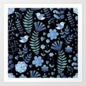 Vintage floral pattern on a black background Art Print