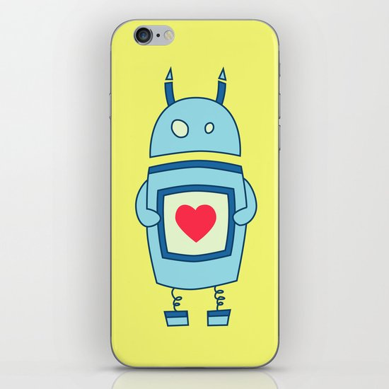 Cute Clumsy Robot With Heart iPhone & iPod Skin