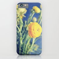iPhone & iPod Case featuring Ranunculus (on Blue) by SilverSatellite