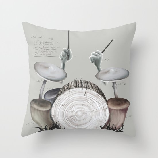 Mushroom drums Throw Pillow