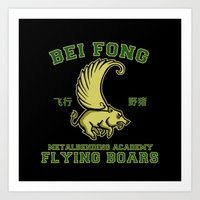 Bei Fong Academy Flying Boars (Black) Art Print
