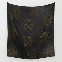 Wall Tapestry - Autumn-world 3 - gold leaves on black chalkboard - Simplicity of life