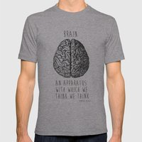 Brain Mens Fitted Tee Athletic Grey SMALL