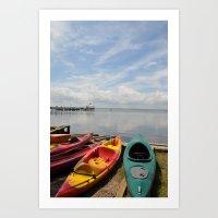 Bay Landscape With Canoe… Art Print