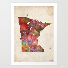 Minnesota map Art Print