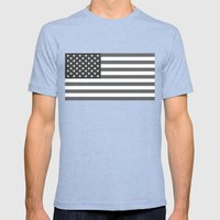 American flag - Gray scale version Mens Fitted Tee Tri-Blue SMALL