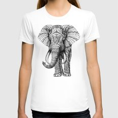 Ornate Elephant Womens Fitted Tee White SMALL