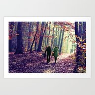 One Couple In  Autumn L… Art Print