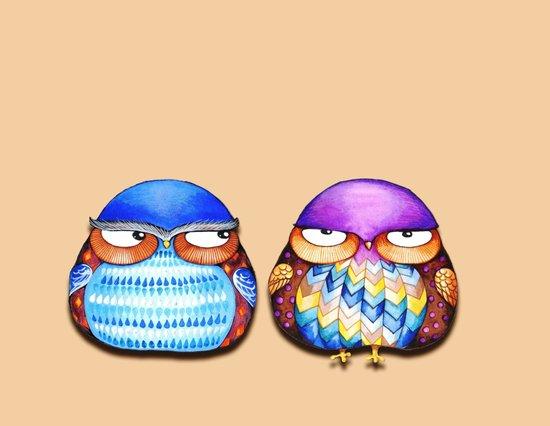 Grumpy Owls Canvas Print