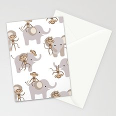 Monkey and elephant Stationery Cards