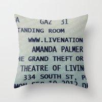 Amanda Palmer & The GTO:… Throw Pillow