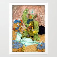 Quick Knight Smoke! Save Ochtlipat from the Cyclops' Teleportamid! Art Print
