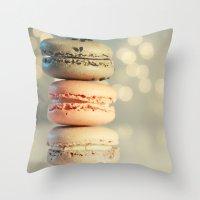 neapolitan macarons Throw Pillow
