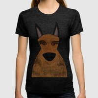 Dog - German Shepherd 2 Womens Fitted Tee Tri-Black SMALL