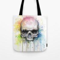 Skull Watercolor Painting Tote Bag