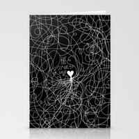 The Lines Of Love - Blac… Stationery Cards
