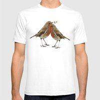 Cute Birds Mens Fitted Tee White SMALL