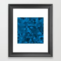 Blue Pixelated Geometric Pattern Framed Art Print