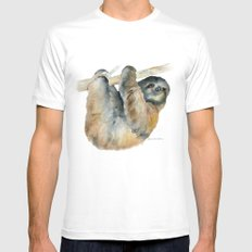 Sloth White SMALL Mens Fitted Tee