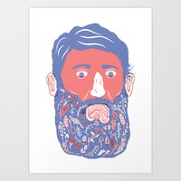 Flowers In Beard Art Print