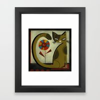 FLOWER & CAT Framed Art Print