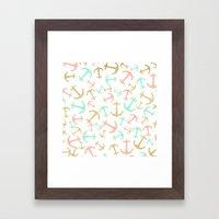 Summer pastel pink mint gold nautical anchors  Framed Art Print