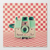 Mint Retro Camera On Red… Canvas Print